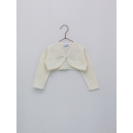 Bolero-type girl cardigan with round ends