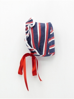 Striped baby girl bonnet