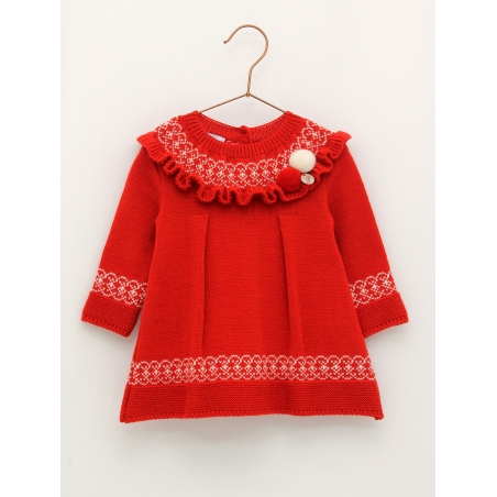 Vestido punto rojo con pompones