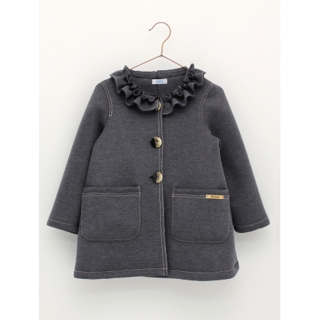 Neoprene coat with ruffle collar