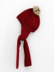 Hat & scarf with natural fur pompom