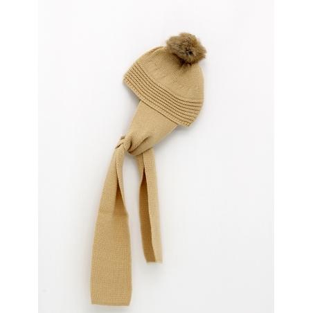 Gorro bufanda com pompón cabelo natural