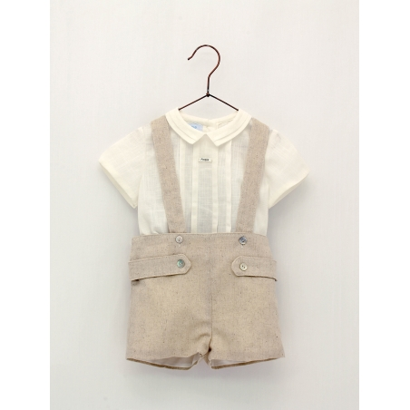 Baby boy shirt and shorts with suspenders