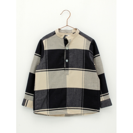 Mandarin collar shirt in maxi checked fabric