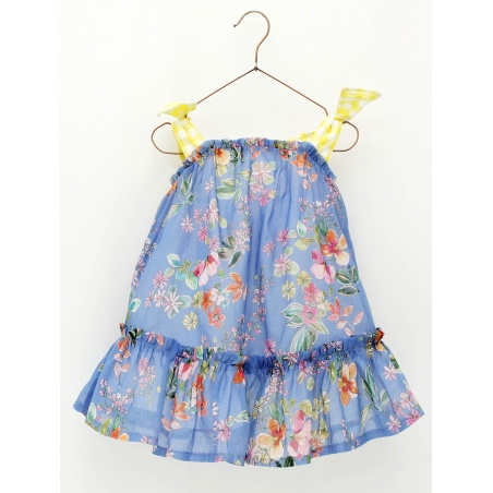 Flowered girl dress with straps