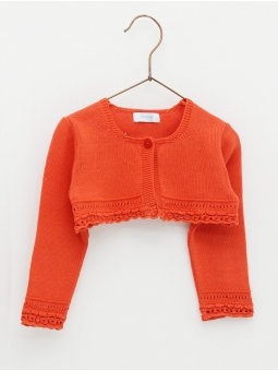 Baby girl bolero with semi round neckline