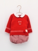 Red baby sweater set with marbled bloomers