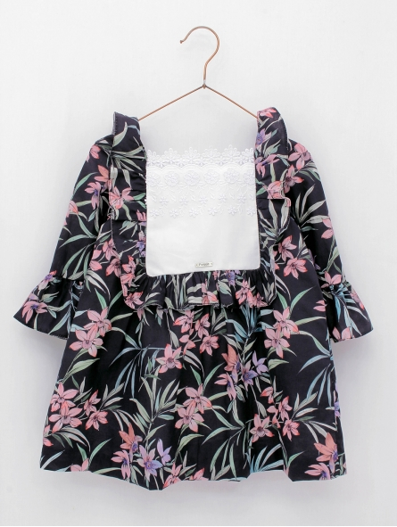 Flowered dress with French sleeves
