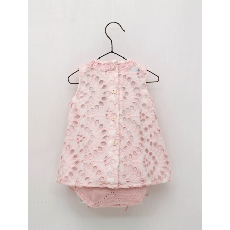 Baby girl embroidered dress and knitted shorties