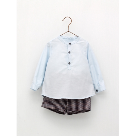 Mandarin collar shirt and shorts