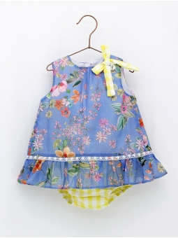 Patterned girl dress with shorties