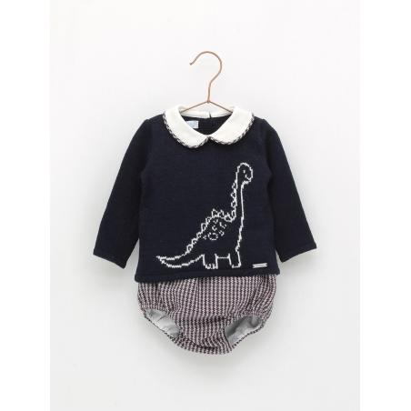 Jubón dinosaurio y braguita pata de gallo