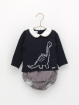Dinosaur sweater and houndstooth bloomers