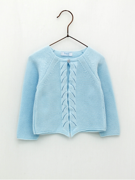 Cardigan with front openwork waves