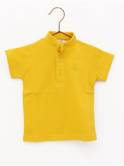 Pique polo shirt for boy with Mandarin collar