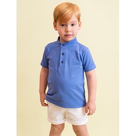 Pique polo shirt for boy with Mandarin collar