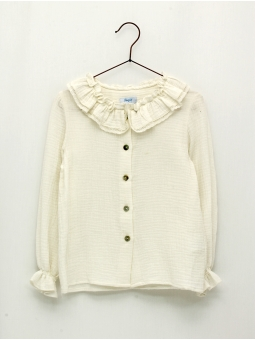 Long-sleeved girl blouse with ruffle collar