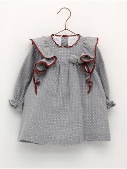 Vestido manga larga topitos