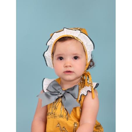 Safari baby girl bonnet