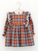 Checked dress with ruffle collar