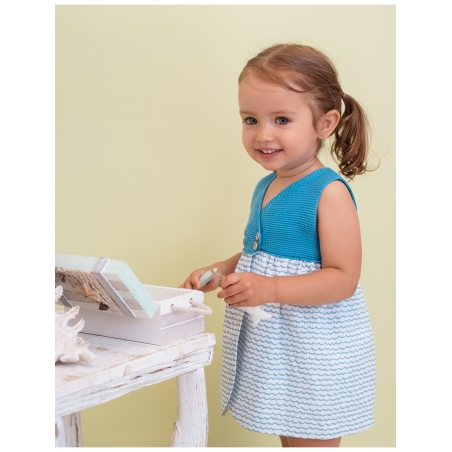 Wave print baby girl dress