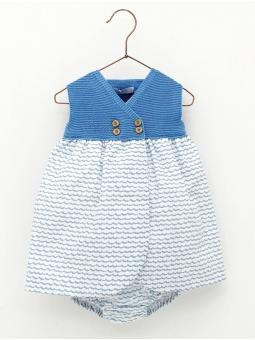 Wave print baby girl dress