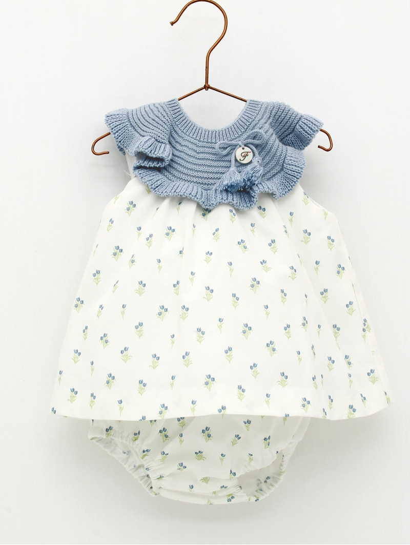Organic cotto baby girl patterned dress