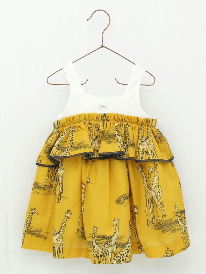 Giraffe print girl dress with straps