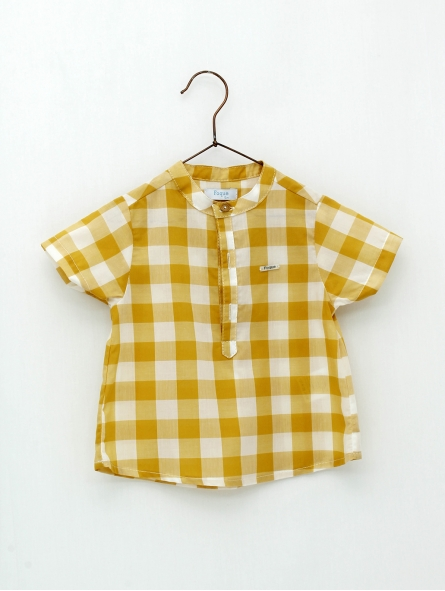 Gingham baby boy shirt