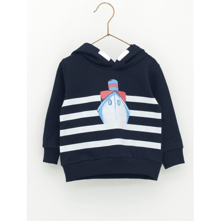 Baby boy hoodie with boat print