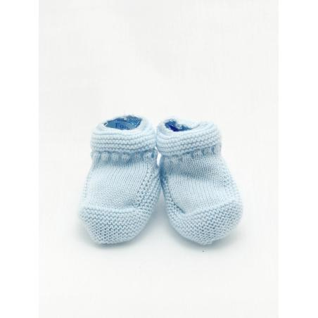Garter stitch baby boy booties with openwork