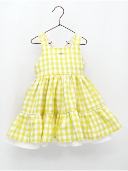 Yellow gingham girl dress