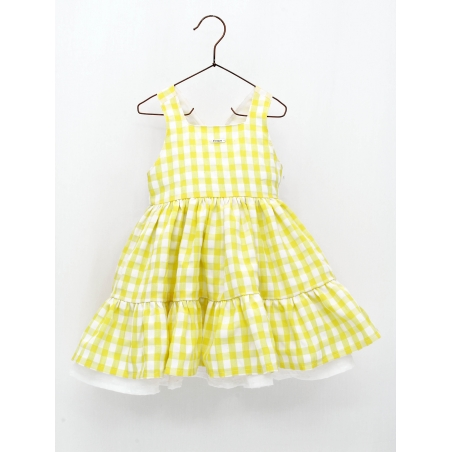 Yellow gingham girl dress