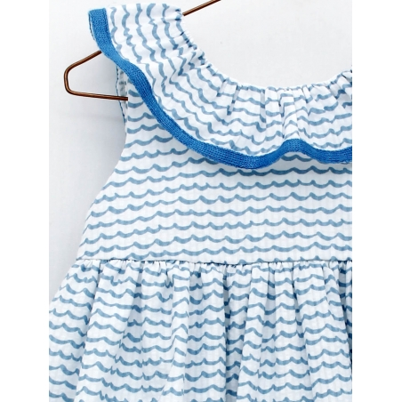 Wave print girl dress