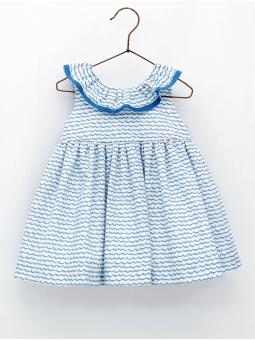 Wave print girl dress