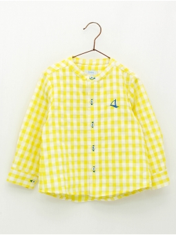 Gingham boy Henley shirt