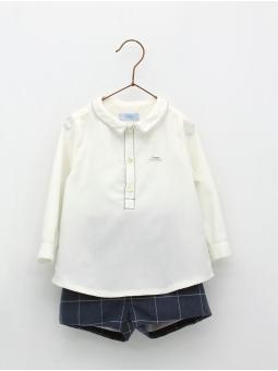 Camisa e calça curta quadros