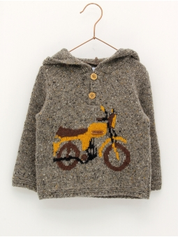 Jumper with hood and motorbike print