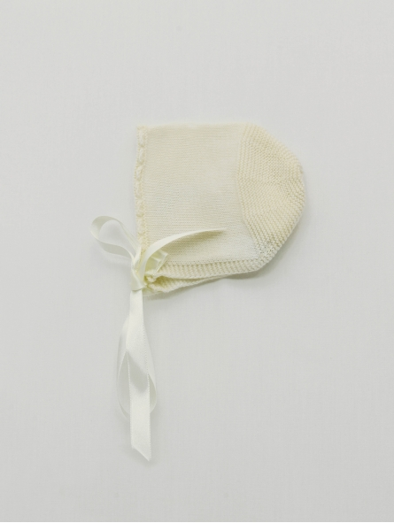 Wave stitch baby bonnet with satin bow