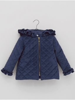 Coat with padded velvet hood