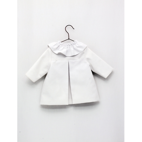 Pique coat for girl with ruffle collar