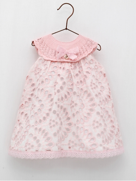 Embroidered baby dress with knitted bodice