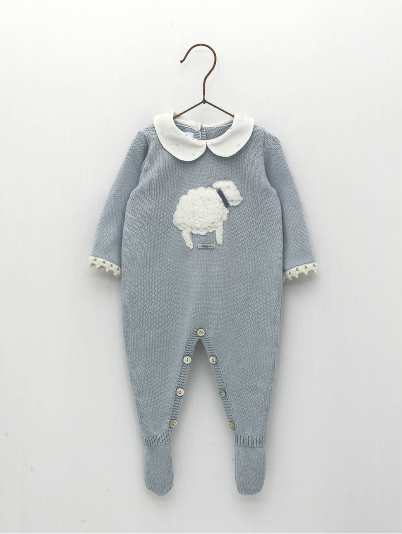 Knitted romper with little sheep embroidery