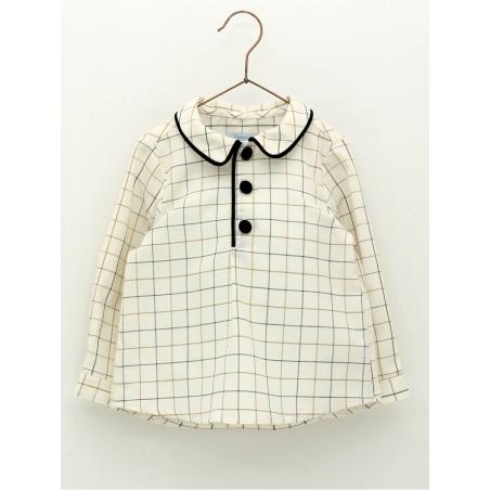 Camisa criança quadros vivos terciopelo
