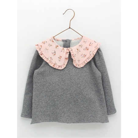 Girl sweatshirt with babydoll collar