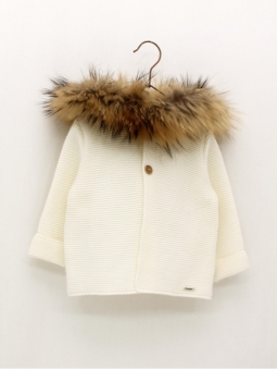 Baby duffy coat with natural fur hood