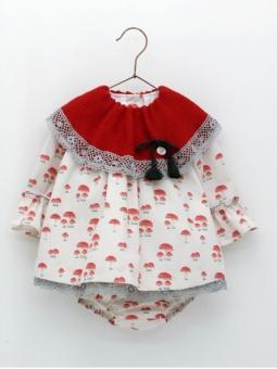 Baby girl romper-like dress with mushroom print
