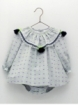 Baby girl romper-like dress with pompoms
