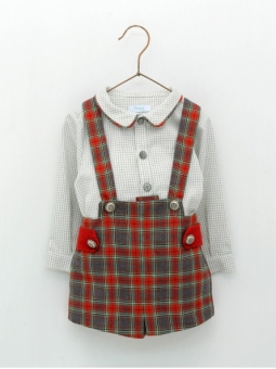 Baby boy set of checked shirt and overalls