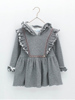 Vestido niña capucha tejido sudadera